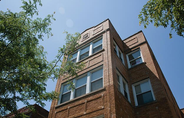 A building in Humboldt Park operated by LUCHA, a community-based, nonprofit affordable housing provider in Chicago. LUCHA partnered with Bickerdike and Elevate Energy to create R2I2.