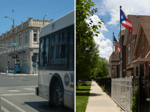 Left: A Chicago Transit Authority bus at a stoplight. Right: A street in Chicago's Humboldt Park neighborhood. The R2I2 program aims to address multiple factors that could boost housing stability, including transportation savings, energy savings, and financial coaching.