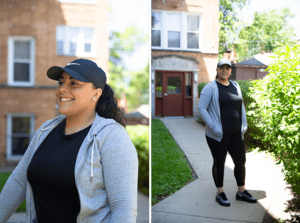 Cassiette Cartagena stands outside her home in Chicago's Humboldt Park neighborhood. The 31-year-old single mother is one of four R2I2 participants. She hopes the program will help her build greater financial savings and security for her family.